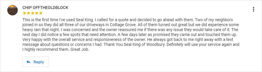 Seal King Customer Google My Business Review from 6/1/2018