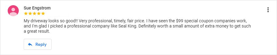 Seal King Customer Google My Business Review from 7/25/2015