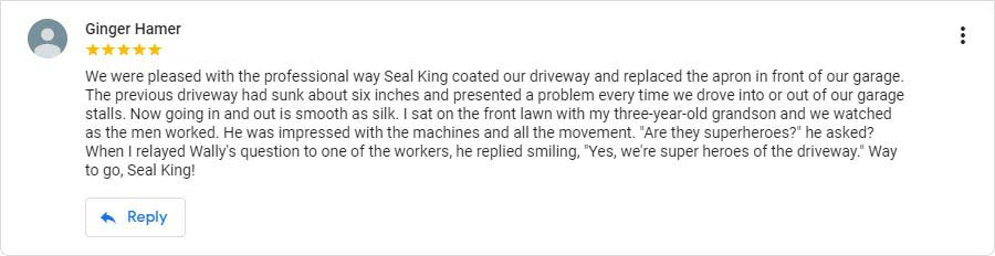 Seal King Customer Google My Business Review from 8/8/2018
