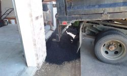 Pour In New Hot Asphalt for Apron