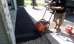 Mechanically Compact New Asphalt Driveway Apron