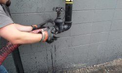 Pumping Base Sealer Material Into Mixing Vat