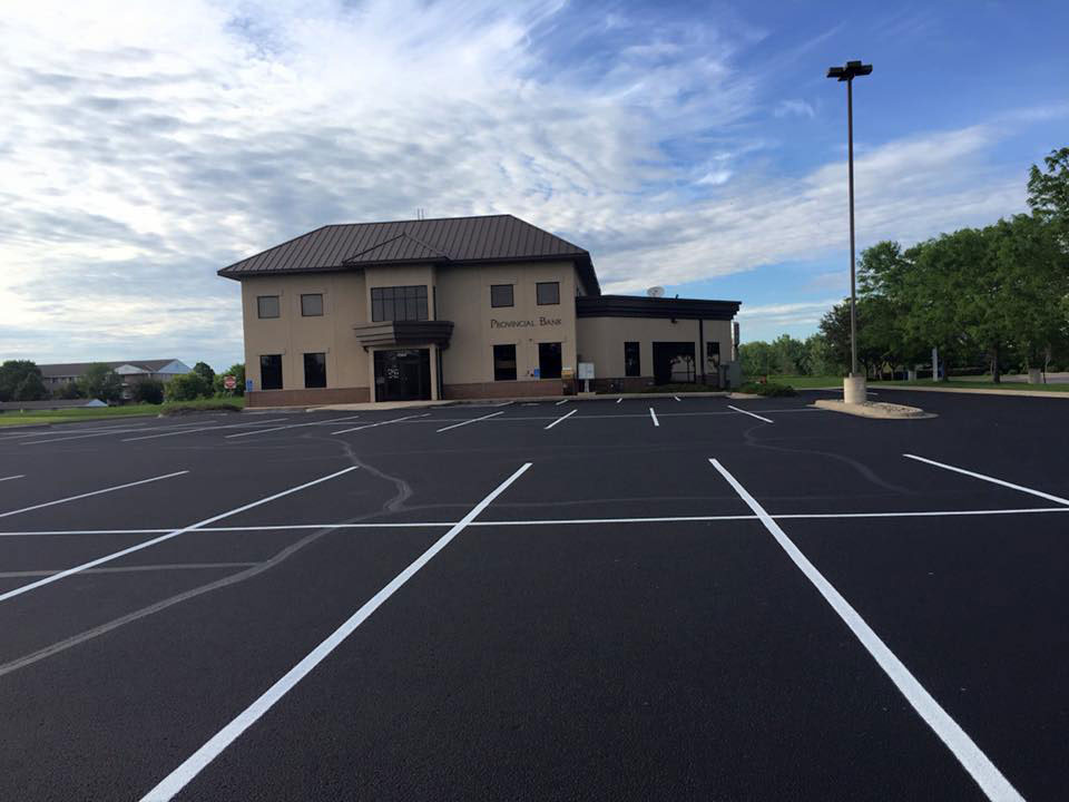 Commercial Sealcoating of a Business Parking Lot MN